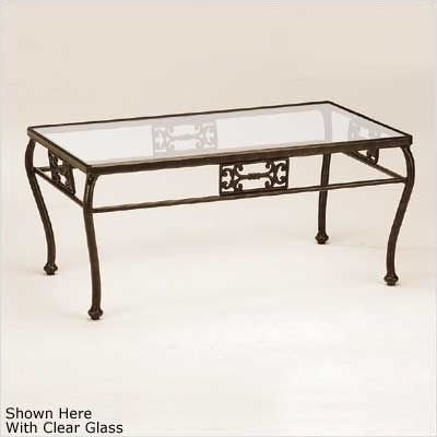 Barbados Motif Rectangular Glass Coffee Table Finish: Tuscan Sand, Glass Type: Obscure