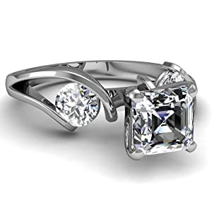 1.5 Ct Asscher Cut Diamond Luscious Trio Stone Engagement Ring VS1 GIA Certified 14K