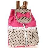 Phenas® Girl's Lovely Sweet Bowknot Leisure Canvas Backpack for Student (Rose)