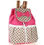Girls Lovely Sweet Bowknot Leisure Canvas Backpack for Student (Rose)