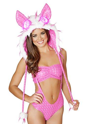 J. Valentine Women's Spike Faux Fur Galactic Foil Light-Up Hood, Hot Pink, One Size