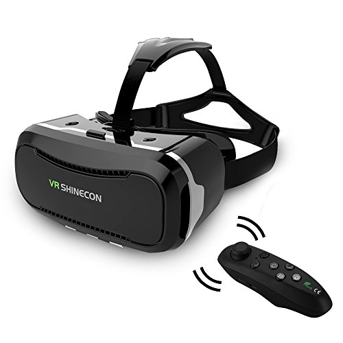 VR Shinecon Ⅱ Quarice® Última Generación 3D Gafas [ HD Lentes Grante Placa Radiante Más Cómodo] Enfocable Imagen Adecuada para Miopía leve Compatible con Móviles iPhone / Android 4.5-6 Pulgadas iPhone Samsung (con Mando a distancia)