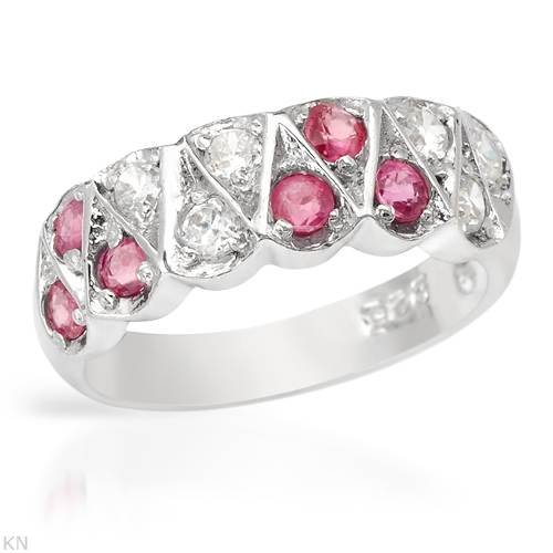 Ring With 1.20ctw Cubic zirconia and Rubies Well Made in 925 Sterling silver (Size 6)