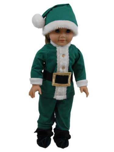 Elf Costume PJ's, Pajama Pants, Shirt, Shoes ,Cap Fits 18