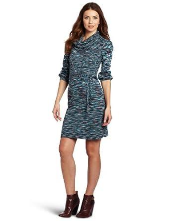 AGB Women's Cowl Necked Ribbed Bodice Long Sleeve Dress, Blue, Medium