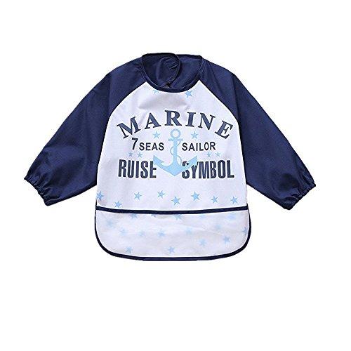 sohv Unisex Bambini Arts Craft pittura grembiule bambino impermeabile Bavaglino con maniche e tasca, 6-36mesi, B blu scuro lettere, Set di 1