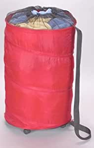 Rolling hamper polyester with wheels red collapsible pop up laundry storage - Collapsible laundry basket with wheels ...