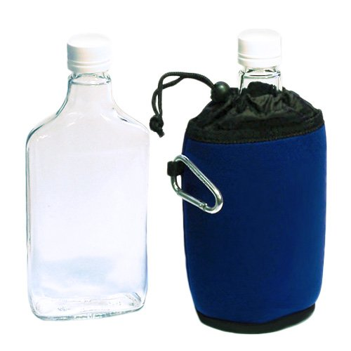 12 oz. Flat Flask Sport/Water Bottle: Almost Unbreakable Glass with Protective Koozie