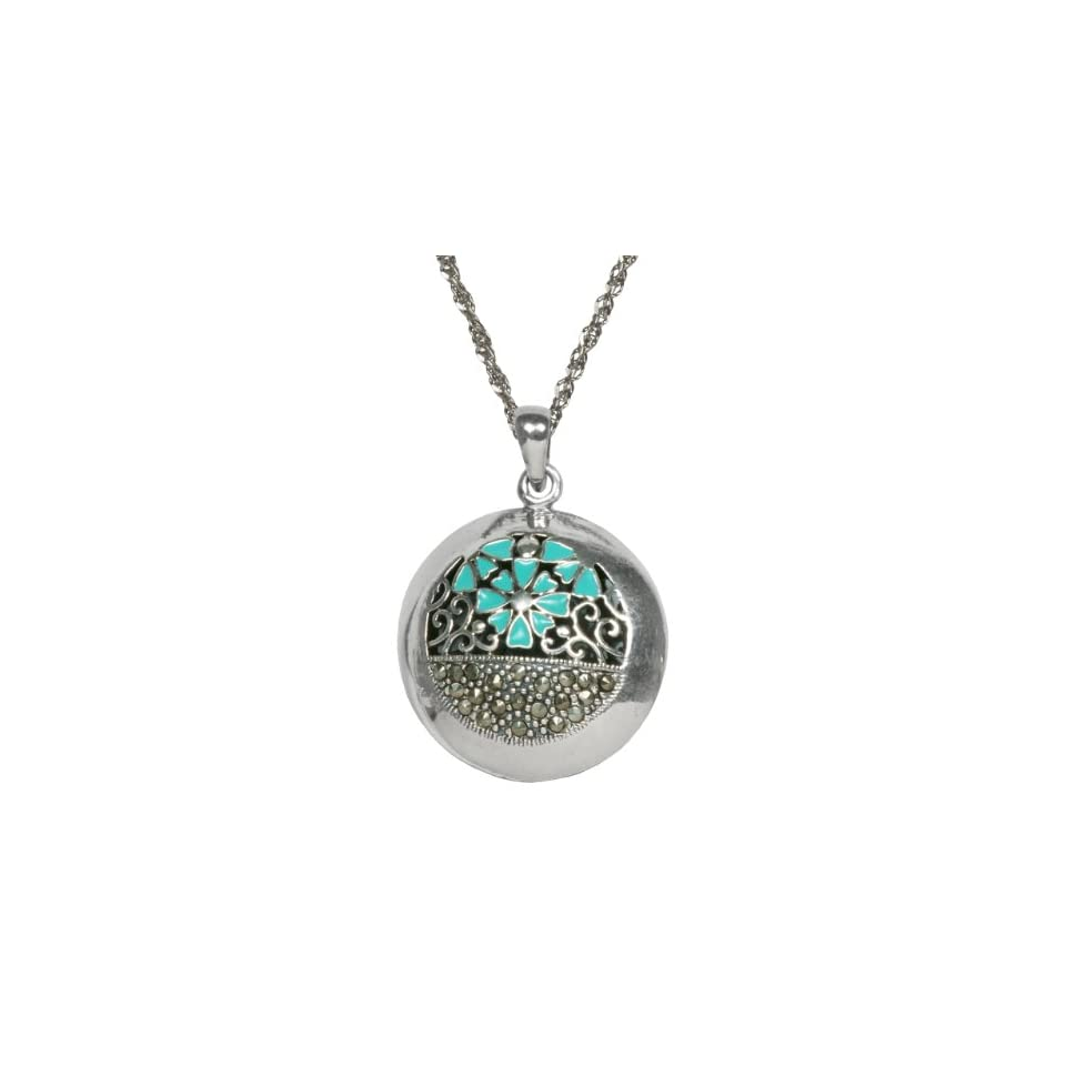 Sterling Silver Oxidized Marcasite with Light Blue Epoxy Textured Round Shape Pendant Necklace, 18