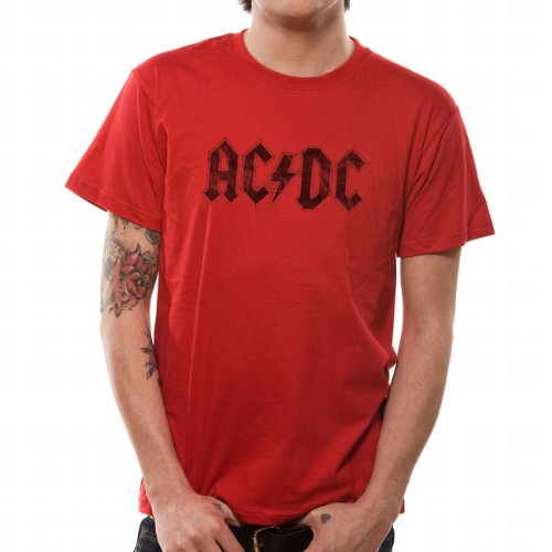 TEE SHIRT HOMME ROUGE AC/DC  80'S  TAILLE M