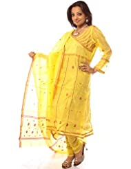 Exotic India Yellow Angarakha Chanderi Suit With Red Bootis - Yellow