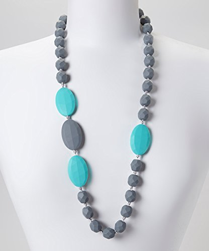 GUMEEZ Quatro Teething Necklace - Grey & Turquoise - 1