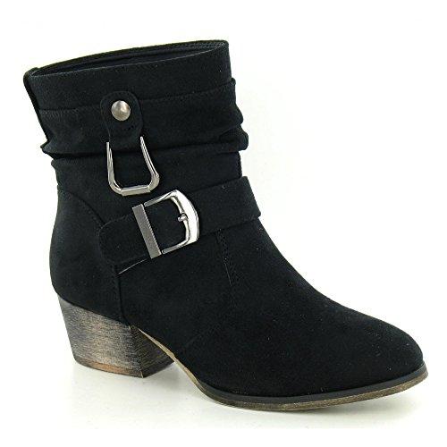 Spot On - Stivaletti alla caviglia con tacco - Donna (38 EUR) (Nero camoscio)
