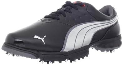 PUMA Men's Puma AMP Sport Golf Shoe,Black/Puma Silver,7 M US