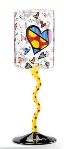 Romero Britto Heart Wavy Stem Wine Glass with Red Polka Dot Hand-Painted Detail