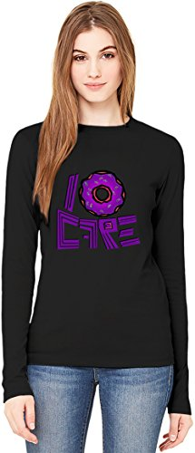 I Donut Care T-Shirt da Donna a Maniche Lunghe Long-Sleeve T-shirt For Women| 100% Premium Cotton| DTG Printing| X-Large
