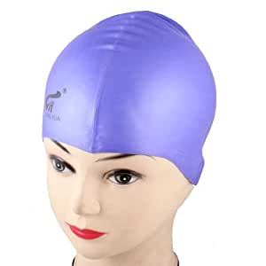 Adults Dome Shaped Stretchy Light Purple Silicone Swimming Swim Cap Hat