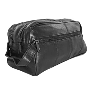 Black Genuine Leather Double Zipper Mens Toiletry Travel Bag Shaving Kit w/ 2 Compartments