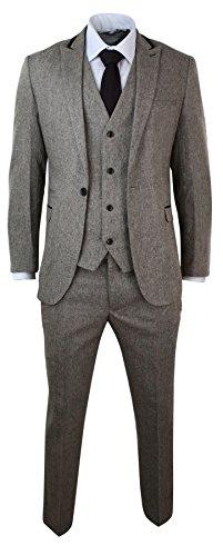 Mens-Herringbone-Tweed-3-Piece-Suit-Velvet-Trim-Classic-Vintage-Slim-Fit-Brown