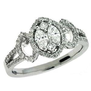 14k White Trendy 0.62 Ct Diamond Ring - Size 7.0 - JewelryWeb