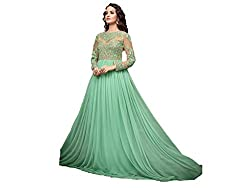 HMP Fashion designer sea blue gown bollywood heavy designer collection/ party wear