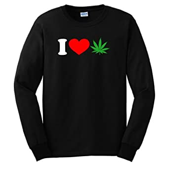 I Love Marijuana Long Sleeve T-Shirt Small Black