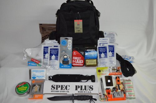 Emergency Survival Bug Out Bag With Basic Fishing Kit - This 72 Hour Bugout Bag Includes Fox Tactical Advanced Hydro Assault Pack With 2.5 Liter Bladder, Mre Star Mre, Emergency Food Bars And Drinking Water By Sos Food Lab, Aquamira Water Purifier Tablets