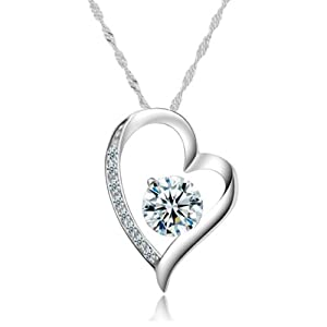 Chaomingzhen White Gold Plated 925 Sterling Silver Heart&arrow Cubic Zirconia Diamond Accent 8 Stone Heart Shaped Pendant Necklace for Women Fashion Jewelry or for Girlfriend Chain18