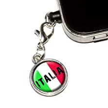 buy Graphics And More Italia - Italy Italian Flag Anti-Dust Plug Universal Fit 3.5Mm Earphone Headset Jack Charm For Mobile Phones - 1 Pack - Non-Retail Packaging - Antiqued Silver