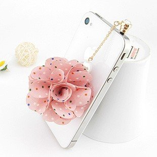 New Mobile Accessories Gold Plated Cloth Small Dots Flowers Stick Dust Plug Charms Cell Chain Charm For Iphone 4 And 4S 3.5Mm Jack Of All The Cell Phone