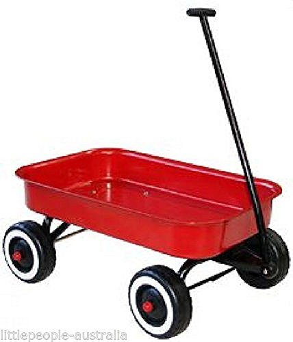 RED METAL WAGON KIDS TROLLEY CART ON WHEELS CHILDRENS TOYS NEW CHRISTMAS GIFT (Red Trolley Toy compare prices)