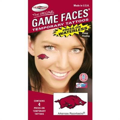 NCAA Arkansas Razorbacks 4-Pack Waterless Temporary Tattoos at Amazon.com