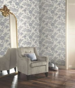 Arthouse Jacobean Wallpaper - Silver by New A-Brend
