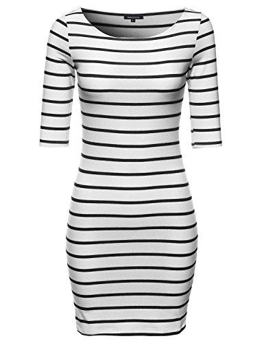 Basic Every Day Boat Neck Stripe 3/4 Sleeve Dress White Black M Size