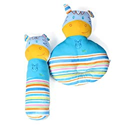 baby bucket pillow and bolster soft toy cute washable set 2pc blue