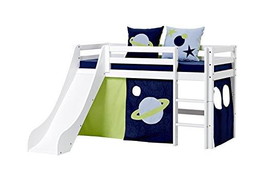 Hoppekids-Basic-A5-3-Space-Textile-und-Matratze-Halbhohes-Bett-mit-Rutsche-Spiel-Junior-Kinder-Jugendbett-Kiefer-massiv-Liegeflche-70-x-160-cm-Holz-wei-168-x-175-x-105-cm