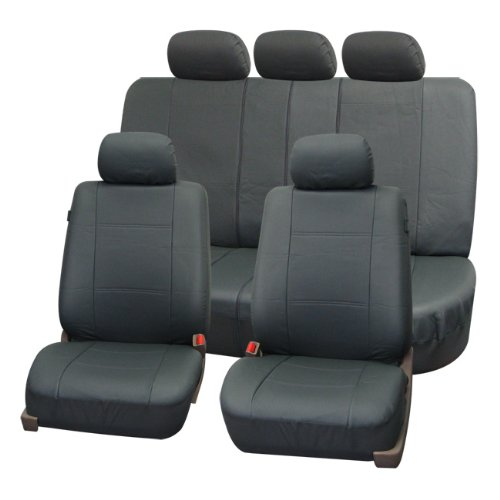 FH-PU007115 Deluxe Leatherette Car Seat Covers, Airbag compatible and Rear Split, Gray color