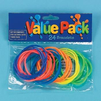 24 neon jelly bracelets, Pack of 6 - 1