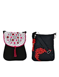 Combo Of Black Sling Pink Embroidery With Black Small Sling Bag