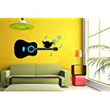 Hoopoe Decor Bird Singing On The Guitar Wall Stickers And Wall Decals, Best Wall Arts For Home Decoration - Black...