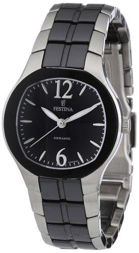 Festina F16626/3 - Reloj analógico de cuarzo para mujer con correa de acero inoxidable, color negro