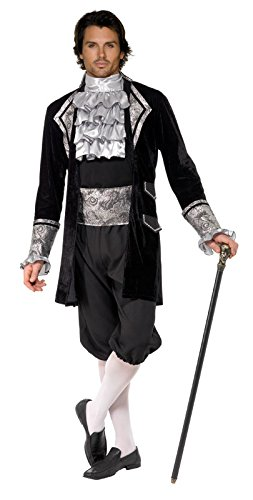 Fever Men's Male Baroque Vampire Costume with Jacket Trousers Cravat, Black/Silver, Medium