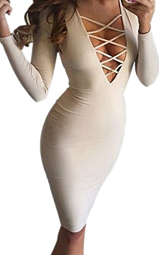 Ecowish Women Sexy Long Sleeve Autumn Bodycon