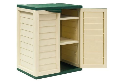 3ft Beige Plastic Garden Storage Utility Shed Cabinet with shelves