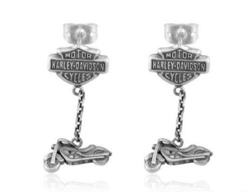 Harley-Davidson® Sterling Silver Women's Dangle Motorcycle Earrings. Sterling Silver. HDE0144