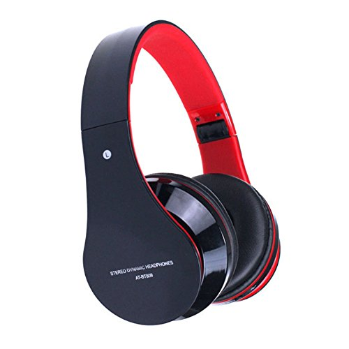 Doinshop Foldable Wireless Bluetooth Stereo Headset Mic For Iphone Samsung Htc (Cute Red)