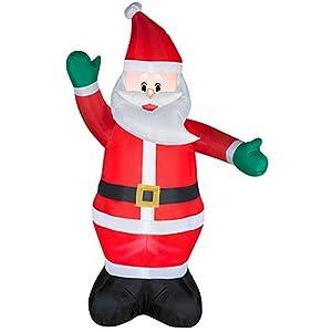Lights up inflatable self inflates blow up waving friendly santa