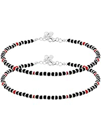 RED AND BLACK BEADED IN STERLING SILVER 92.5 ANKLETS FOR WOMEN