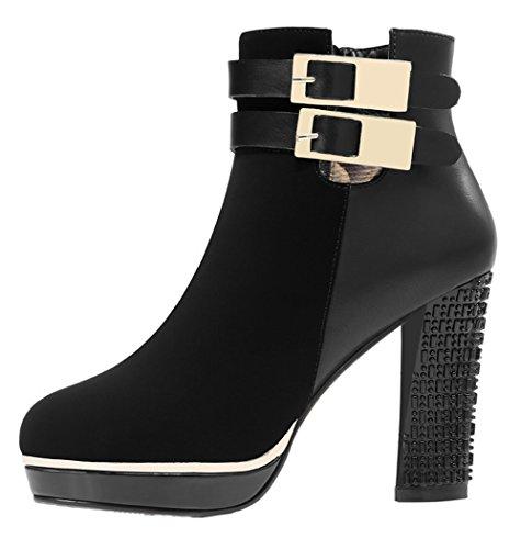 Guciheaven Women Winter New Style Double Buckle High Waterproof Short Boots(7 B(M)Us, Black)