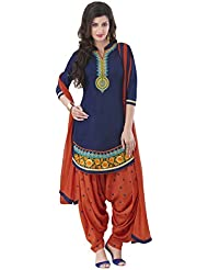 London Beauty Cotton Orange Embroidered Semi-stitched Salwar Suit